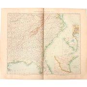 Art Nouveau Map of the South East USA incl. Miami, Atlanta, Nashville, Jacksonville, Richmond,  and more (Stieler 1902)