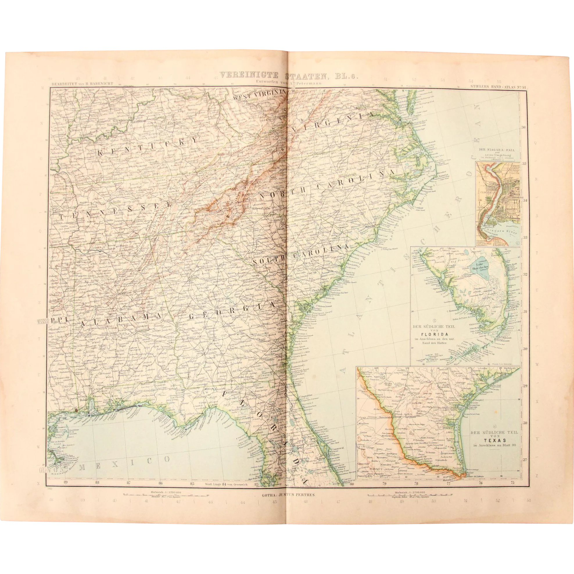 Art nouveau map of the south east usa incl miami atlanta art nouveau map of the south east usa incl miami atlanta nashville vianova ruby lane gumiabroncs Gallery