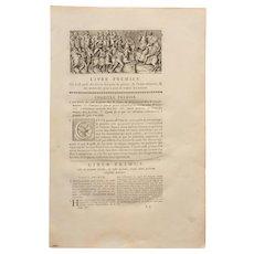 18th Century First Page of L'antiquité expliquée et représentée en figures by Bernard de Montfaucon - with Copper Engraving of an Ancient Roman Scene