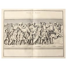 "18th Century Copper Engraving of ""Assault of the Romans"" from L'antiquité expliquée et représentée en figures by Bernard de Montfaucon"