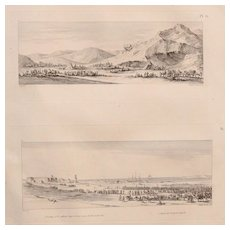 "Antique Print of Views of the French Army around Qoseir - Original Copper Engraving from ""Napoleons Travels to Egypt"" (Vivant Denon) 1802"