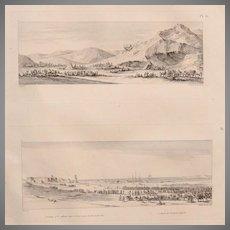 "Antique Print of Views of the French Army around Qoseir - Original Copper Engraving from ""Napoleons Travels to Egypt"" (Vivant Denon) 1802"