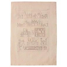 "1802 Original Copper Engraving ""Emblematic Reliefs"" from Napoleons Travels to Egypt (Vivant Denon) Page 127"