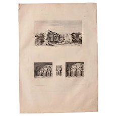 """Antique Print of Views of the Tombs of Gebel el-Silsila - Original Copper Engraving from """"Napoleons Travels to Egypt"""" (Vivant Denon) 1802"""