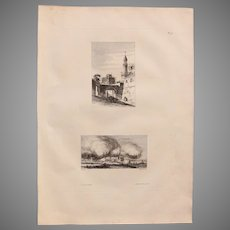 """Antique Print of  a Birdseyeview of a street in Djirgée & the Castle Benouth - Original Copper Engraving from """"Napoleons Travels to Egypt"""" (Vivant Denon) 1802"""