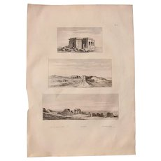 """Antique Print of Views of the Temple of Kom Ombo & temple of Chnubis - Original Copper Engraving from """"Napoleons Travels to Egypt"""" (Vivant Denon) 1802"""