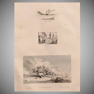 "Antique Engraving of Egyptian Man on a Boat, Meeting of the Sheiks and a combat scene - Original Copper Engraving from ""Napoleons Travels to Egypt"" (Vivant Denon) 1802"
