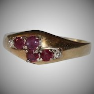 1970's Ruby & Diamond 14K Gold Ring