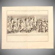 """18th Century Copper Engraving """"Cavalry of Emperor Traian"""" from L'antiquité expliquée et représentée en figures by Bernard de Montfaucon"""