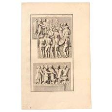 """18th Century Copper Engraving """"Speech"""" from L'antiquité expliquée et représentée en figures by Bernard de Montfaucon"""