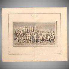 """18th Century Copper Engraving """"Roman Speech"""" from L'antiquité expliquée et représentée en figures by Bernard de Montfaucon"""