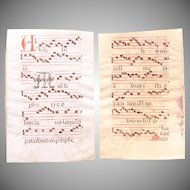 15th Century Large Illuminated Gregorian Chant Manuscript Page / Renaissance Sheet Music