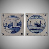 18th century Set of two Dutch Delft Tiles - Blue and White Pottery Tiles with Boats, a Well and Houses