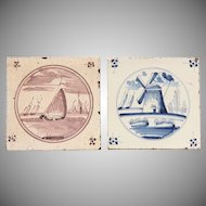 18th century Set of two Dutch Delft Tiles - Blue and White and Purple Pottery Tiles with Boat and Windmill