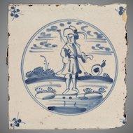 18th Century Delft Tile - Fisherman and Snail - Dutch Blue & White Tile