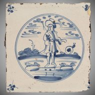 18th Century Delft Tile - Fisherman and Snail - Dutch Blue & White Tile