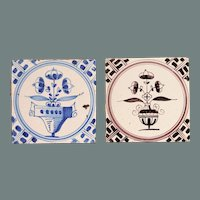 19th century Set of two Dutch Delft Tiles - Blue and White and Purple Pottery Tiles with bouquet ( bloempotten )