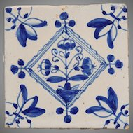18th century Dutch Delft Tile - Blue and White Pottery Tile with bouquet ( bloempotten )