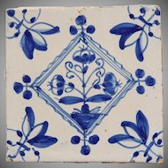 18th century Dutch Delft Tile - Blue and White Pottery Tile with bouquet ( bloempotten )