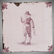 18th Century Delft Tile - Smoking Gate Keeper - Dutch Purple & White Tile
