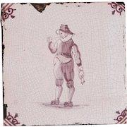 18th Century Delft Tile - Smoking Gate Keeper - Dutch Purple & White Tile