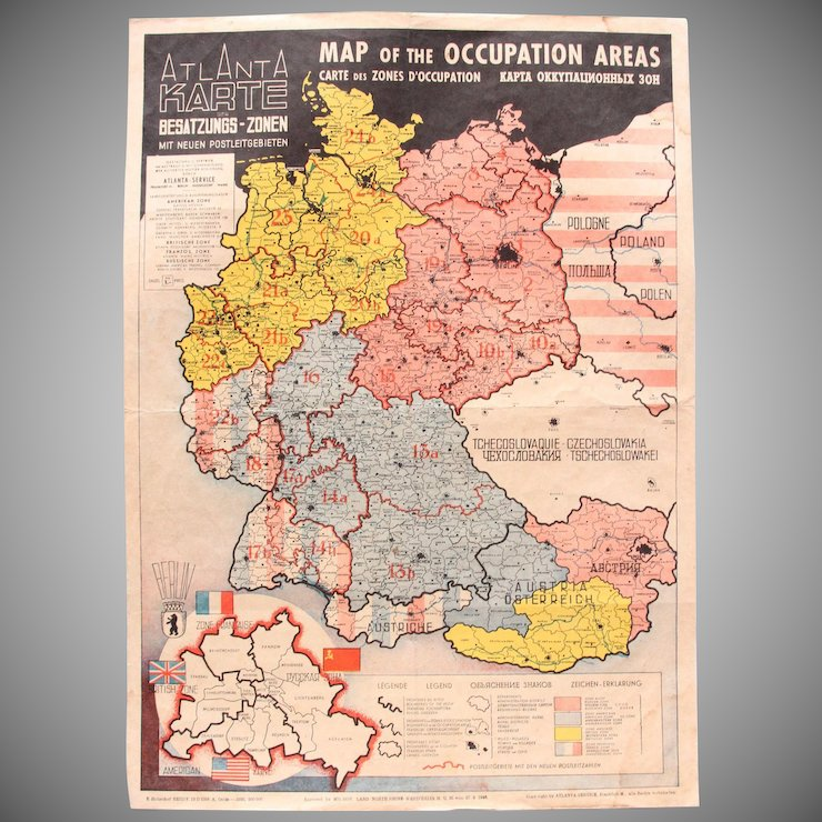 1946 Map of the Occupied Areas - Germany Map after WW2 - Atlanta ...