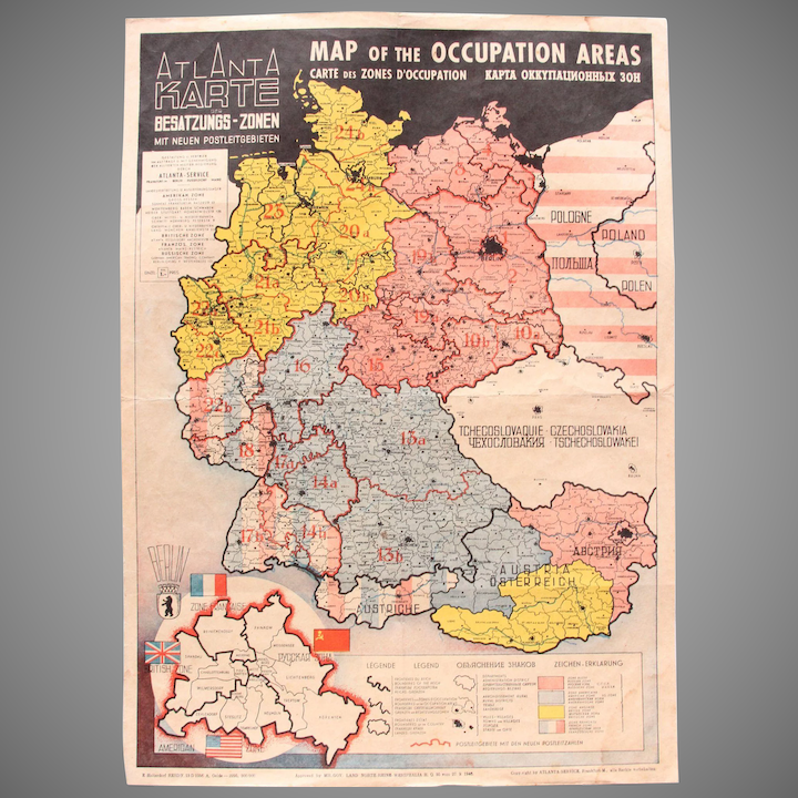 Map Of Germany Occupation Zones.1946 Map Of The Occupied Areas Germany Map After Ww2 Atlanta Karte