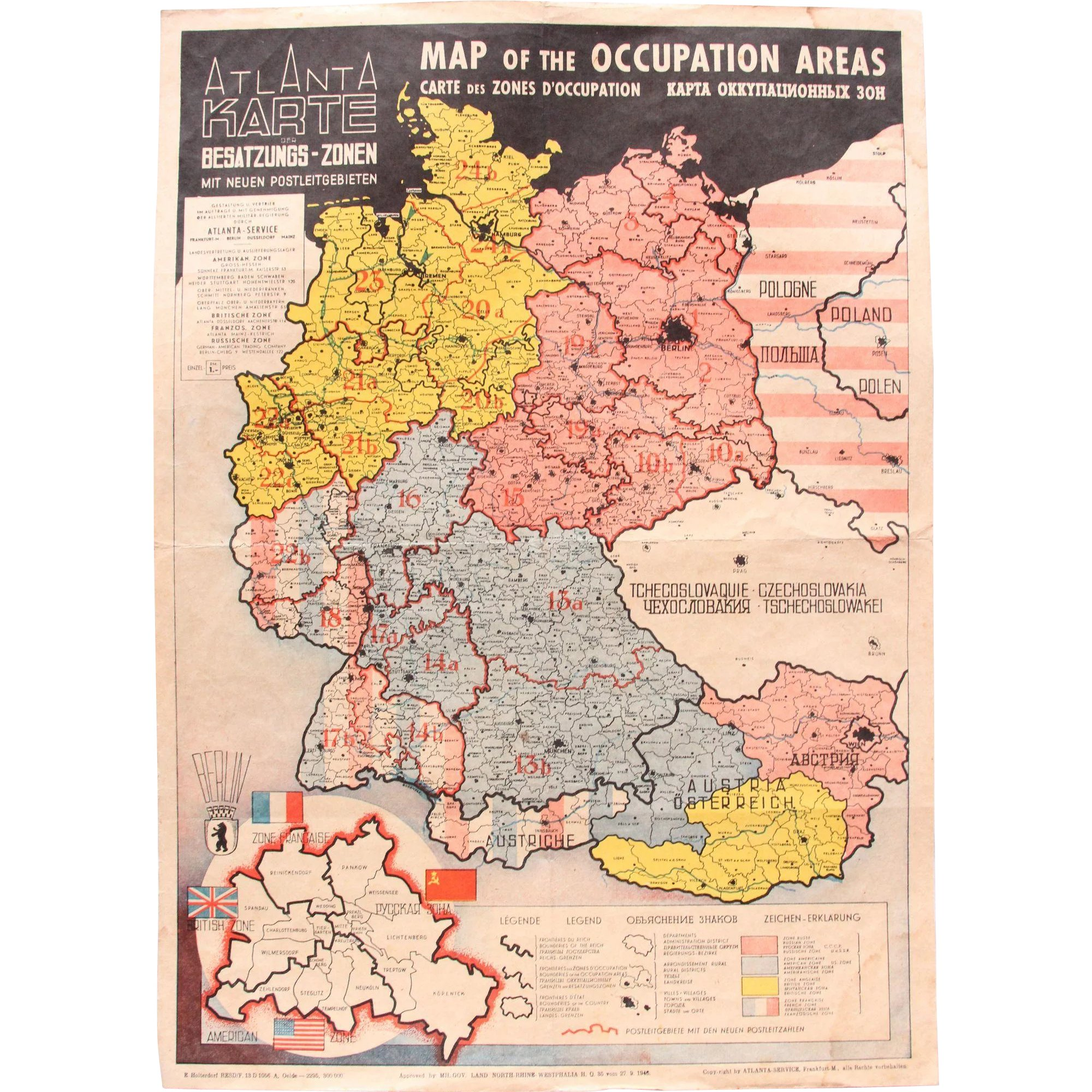 1946 Map of the Occupied Areas Germany Map after WW2 Atlanta