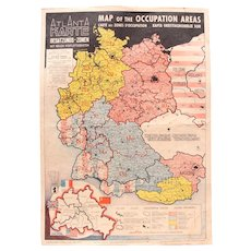 1946 Map of the Occupied Areas - Germany Map after WW2 - Atlanta Karte