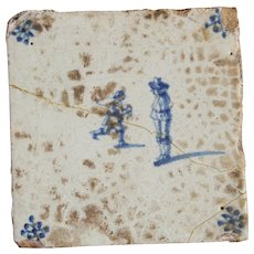 17th century Dutch Delft  Blue Pottery Tile with Noble Man and Servant