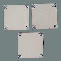 17th Century Set of three Delft Tiles - Dutch Blue & White Tiles with Corner Motif