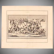18th Century Copper Engraving of an Ancient Combat Scene from L'antiquité expliquée et représentée en figures by Bernard de Montfaucon