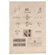 """Antique Engraving of Ancient Egyptian artifacts and antiquities - Original Copper Engraving from """"Napoleons Travels to Egypt"""" (Vivant Denon) 1802"""