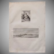 "Antique Print of a Birdseyeview of the Coastline of the Red Sea & a Woman in a Harem - Original Copper Engraving from ""Napoleons Travels to Egypt"" (Vivant Denon) 1802"
