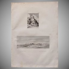 """Antique Print of a Birdseyeview of the Coastline of the Red Sea & a Woman in a Harem - Original Copper Engraving from """"Napoleons Travels to Egypt"""" (Vivant Denon) 1802"""