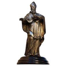 18th Century Baroque Sculpture of  Bishop - Silver plated Bronze