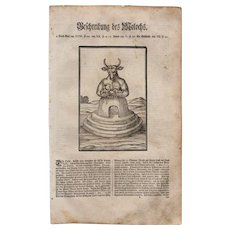 18th Century Woodcut Print of Moloch / Molek by Isnard  from a 1753 Martin Luther Bible