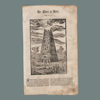 18th Century Woodcut Print of The Tower of Babel by Isnard from a 1753 Martin Luther Bible