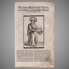 18th Century Woodcut Print of The Lay Priest in his garments by Isnard from a 1753 Martin Luther Bible