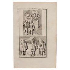 """18th Century Copper Engraving of """"Roman Fortified Camps"""" from L'antiquité expliquée et représentée en figures by Bernard de Montfaucon"""