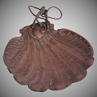 "Art Nouveau ""Feather"" Serving Tray - Brass 1900's Bowl"