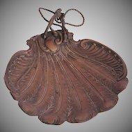 "Art Nouveau ""Feather"" Serving Tray - Brass 1900's Bowl"