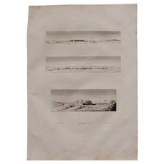"""Antique Print of  Views of Convents in the desert & the Village Nagadi - Original Copper Engraving from """"Napoleons Travels to Egypt"""" (Vivant Denon) 1802"""