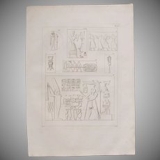 1802 Original Copper Engraving of Different ancient Reliefs from Napoleons Travels to Egypt (Vivant Denon) Page 125