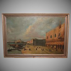 19th Century Oil Painting of the Venice - with the Doge's Palace & St. Mark Square - Very Large after Canaletto