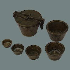 Early 19th Century Set of Original Bronze Swiss apothecary's Weights - Set of Nesting Weights