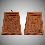 Set of two small 19th Century carved Wood Springerle Molds - Gentian & Deer Cookie Board