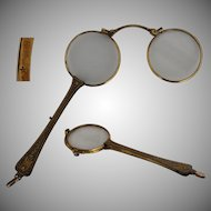 19th Century Lorgnette Gold filled - Museum quality Opera Glasses with case
