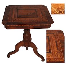 19th Century Venetian Marquetry Table with Birds & Geometric Inlays of Precious Wood