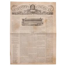 1845 First Edition Scientific American Newspaper